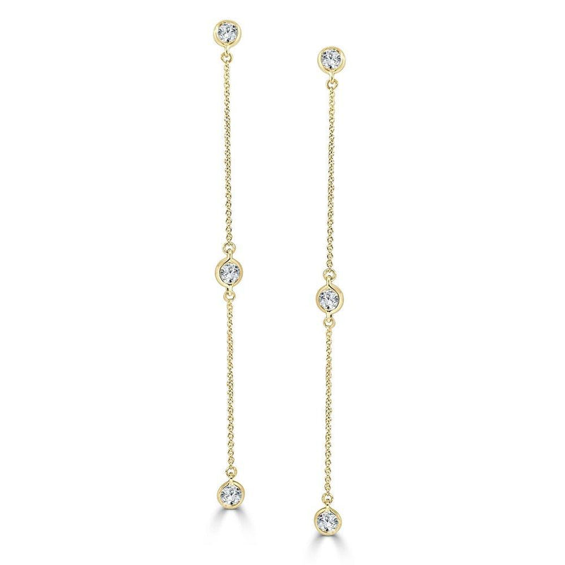 Sabrina Designs 14K Yellow Gold Diamond by the Yard Dangle Earrings