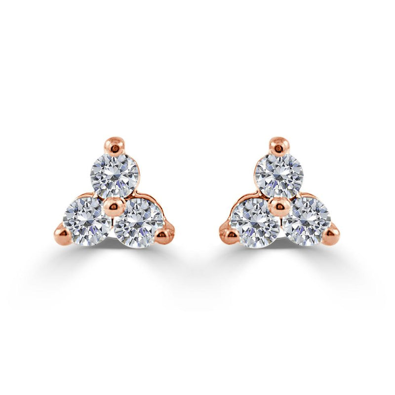 Sabrina Designs 14k Rose Gold 1ct Three Stone Diamond Stud Earrings CER924