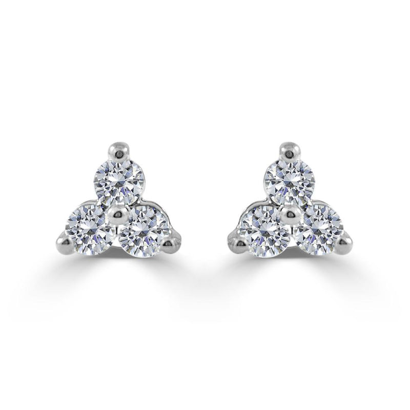 Sabrina Designs 14k White Gold 1ct Three Stone Diamond Stud Earrings CER924