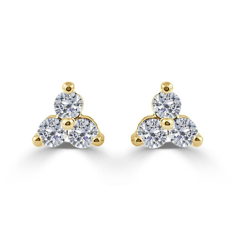 Sabrina Designs 14k Yellow Gold 1ct Three Stone Diamond Stud Earrings CER924