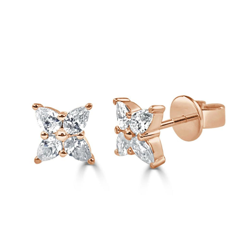 Sabrina Designs 14k Rose Gold Pear Shape Diamond Stud Earrings