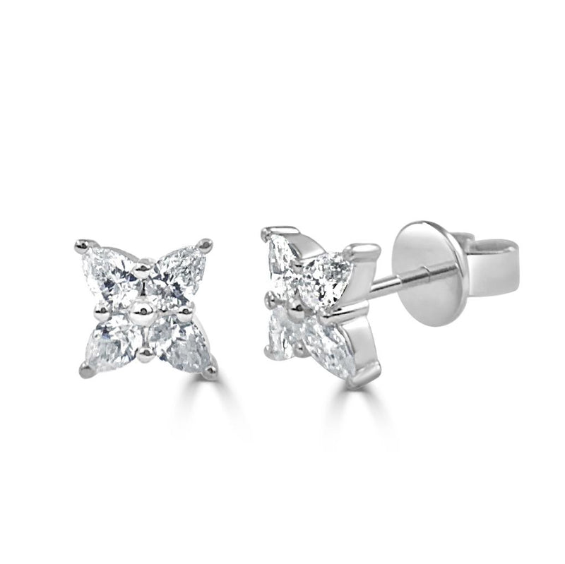 Sabrina Designs 14k White Gold Pear Shape Diamond Stud Earrings