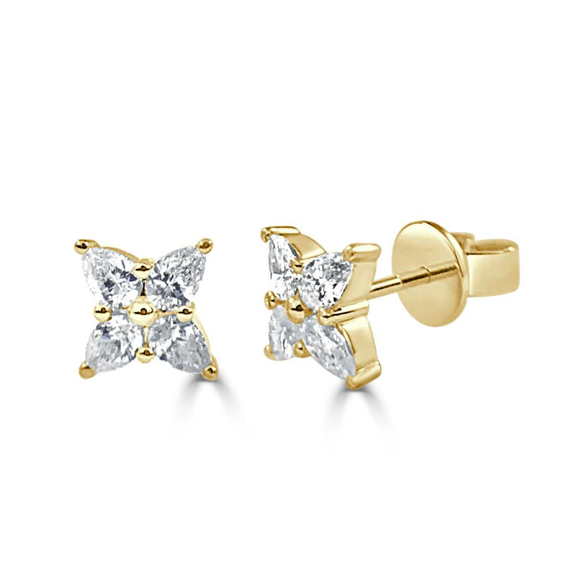 Sabrina Designs 14k Yellow Gold Pear Shape Diamond Stud Earrings