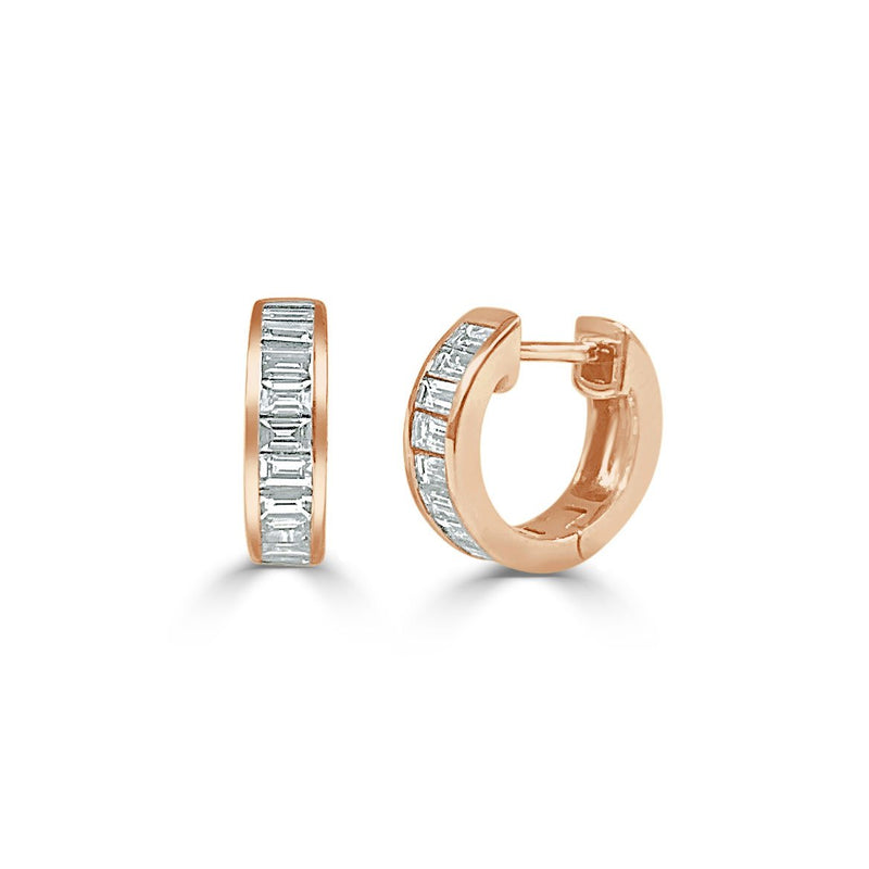Sabrina Designs 14K Rose Gold Diamond Baguette Huggy Earrings