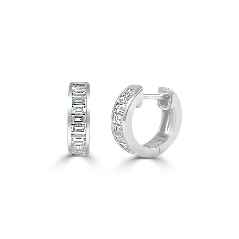 Sabrina Designs 14K White Gold Diamond Baguette Huggy Earrings