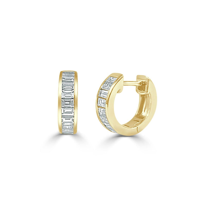 Sabrina Designs 14K Yellow Gold Diamond Baguette Huggy Earrings
