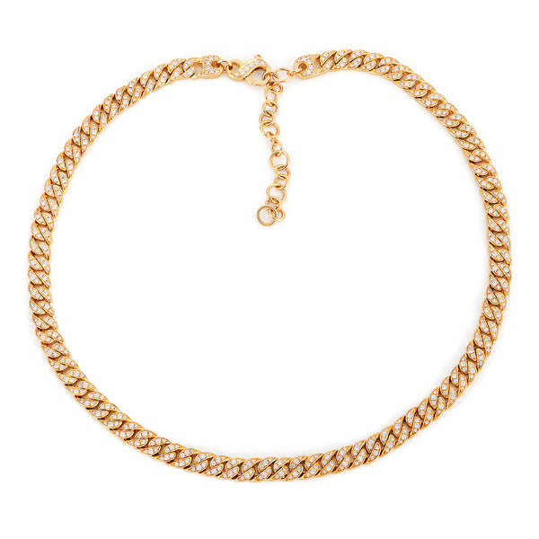 14k Yellow Gold Curb Link Diamond Necklace