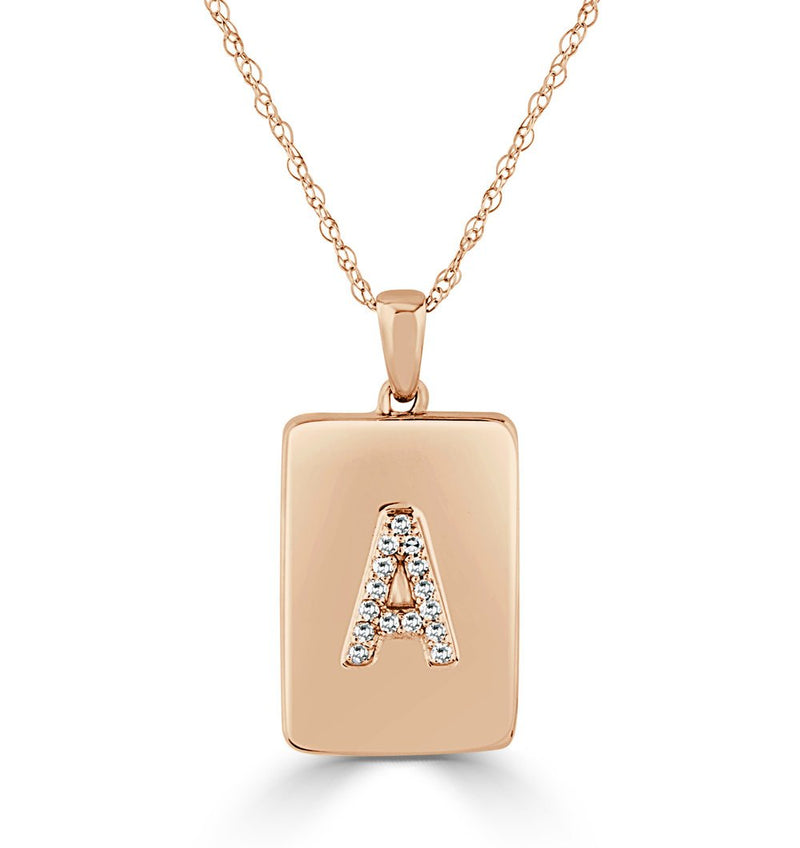 14K Rose Gold & Diamond Initial Dog Tag