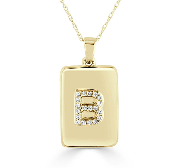 14K Yellow Gold & Diamond Initial Dog Tag