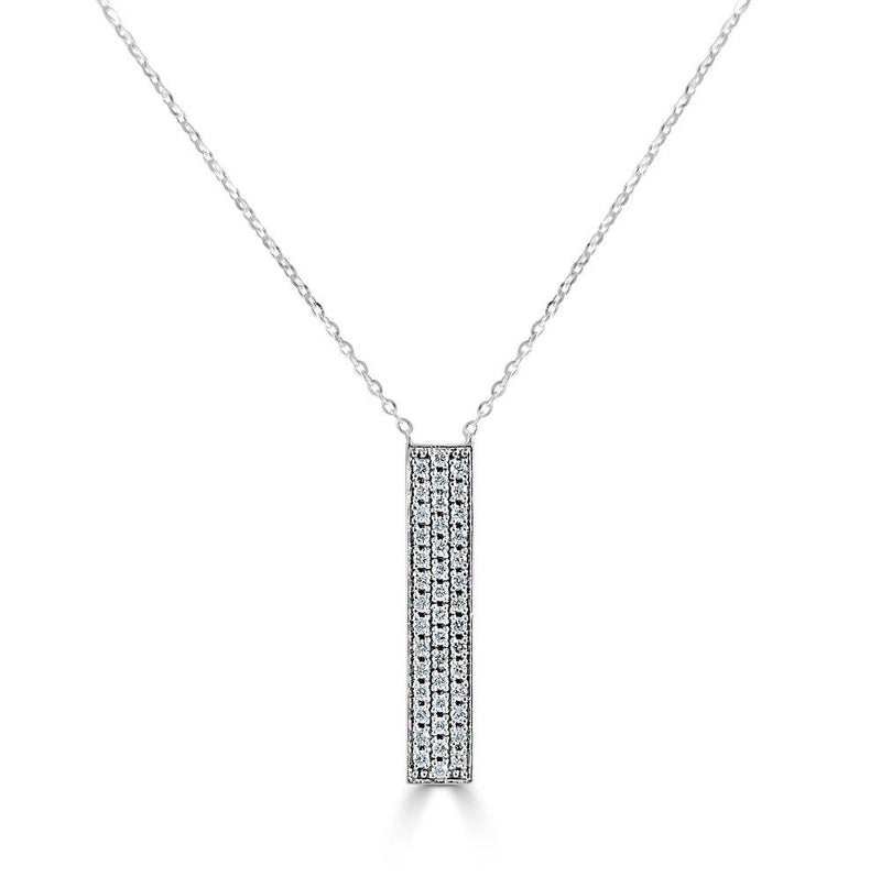 14K Gold & Diamond Pave Rectangular Necklace