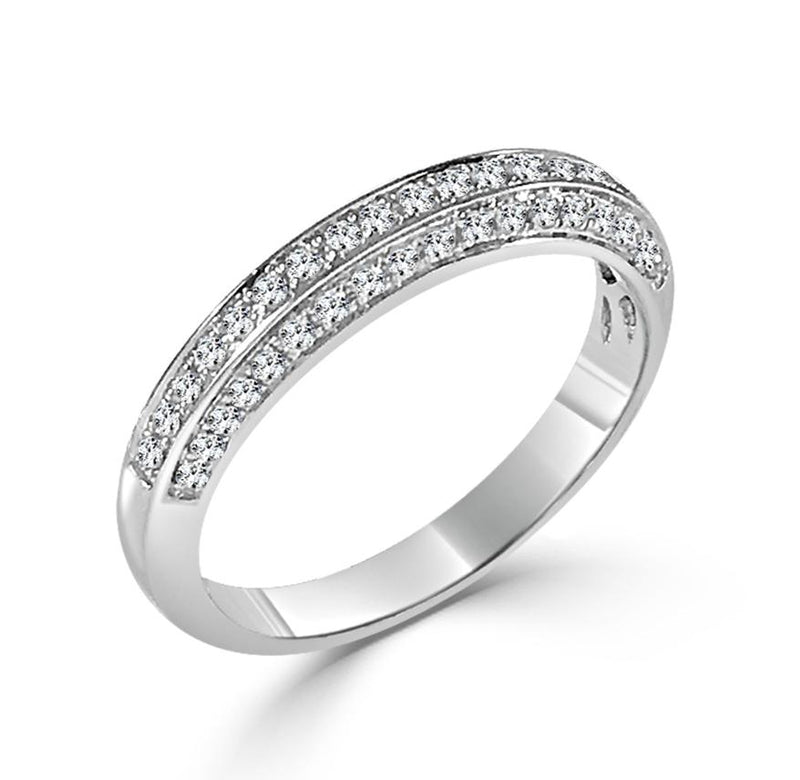 14K White Gold Diamond 1/2 Way Band
