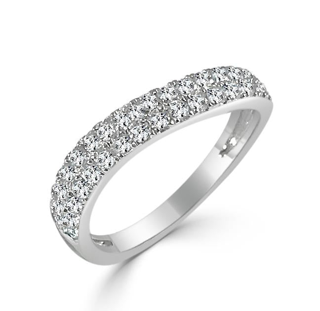 14K White Gold Diamond Wave Ring