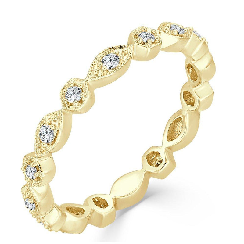14K Gold & Diamond Alternating Pattern Stacking Band