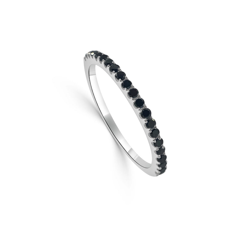 Sabrina Designs 14K White Gold Black Diamond Stackable Ring