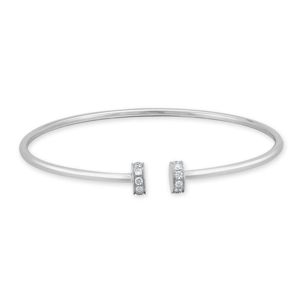 18K Gold Open Diamond Bangle