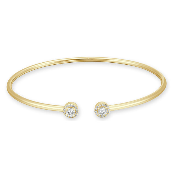 18K Gold Open Diamond Balls Bangle