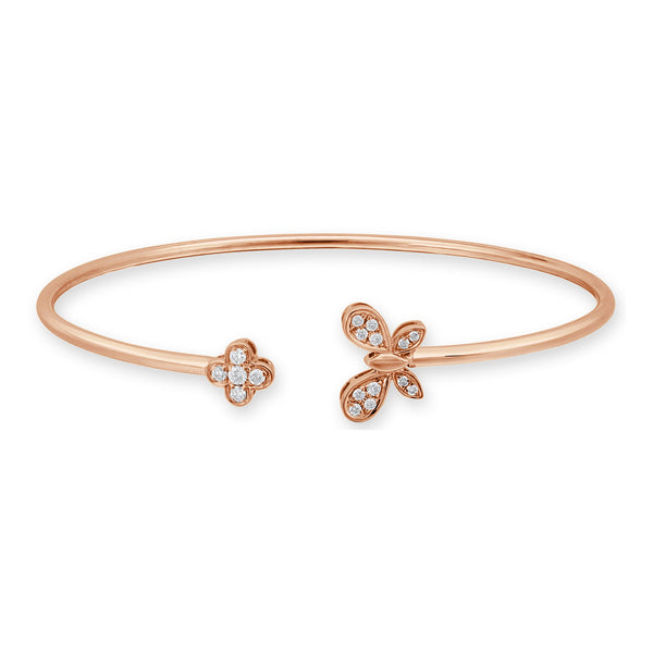 18K Gold Diamond Open Butterfly Bangle