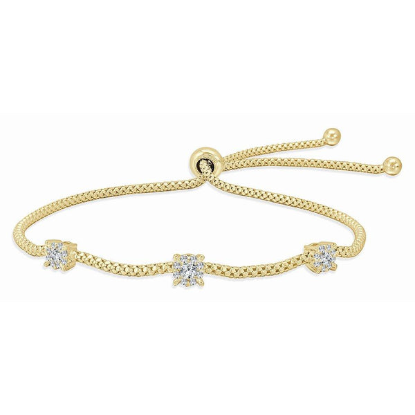 18K Gold Triple Diamond Bolo Bracelet