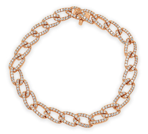 18K Gold Diamond Chain Link Bracelet
