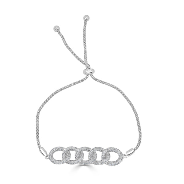 Sabrina Designs 18k White Gold Diamond Link Bolo Bracelet
