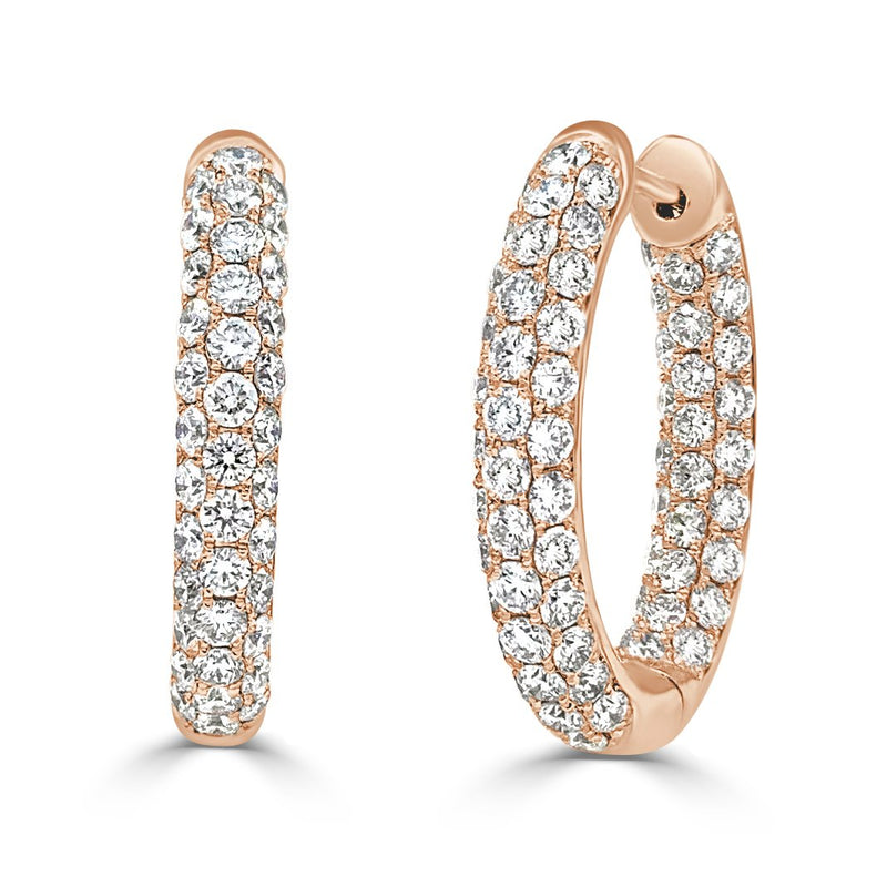 Sabrina Designs 18k Rose Gold Diamond Pave Inside-Out 0.75'' Hoops