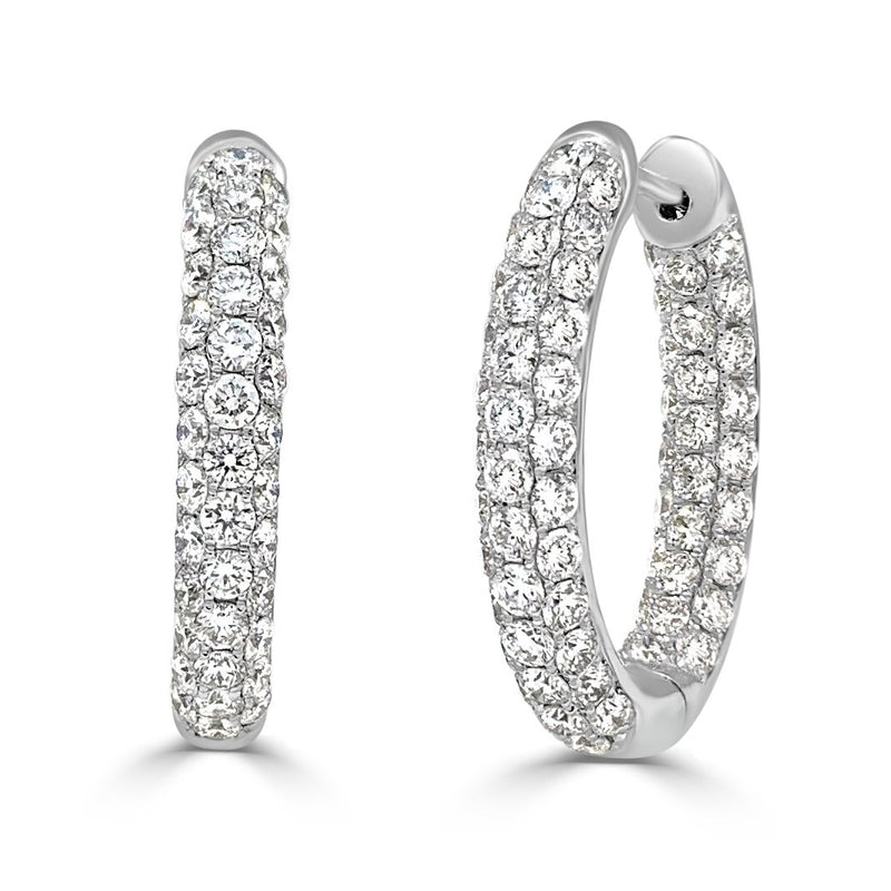 Sabrina Designs 18k White Gold Diamond Pave Inside-Out 0.75'' Hoops