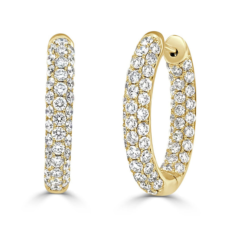 Sabrina Designs 18k Yellow Gold Diamond Pave Inside-Out 0.75'' Hoops