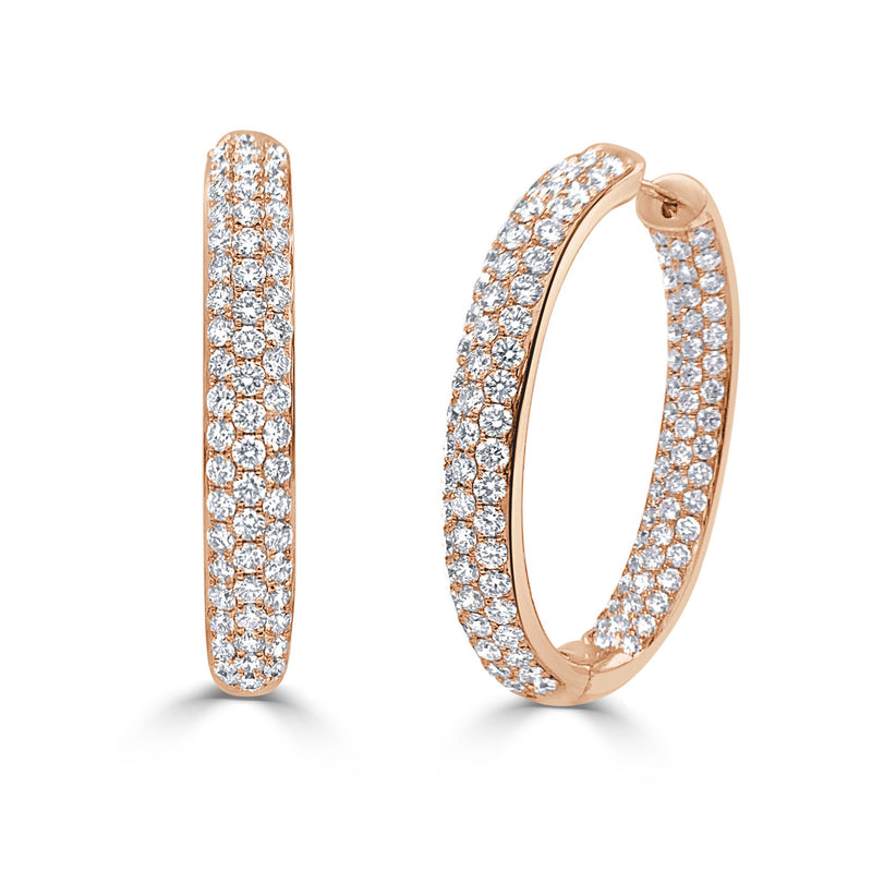 Sabrina Designs 18k Rose Gold Diamond Pave Inside-Out Hoops Earrings