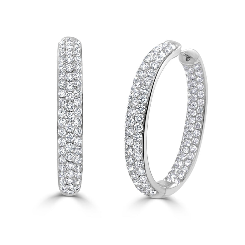 Sabrina Designs 18k White Gold Diamond Pave Inside-Out Hoops Earrings