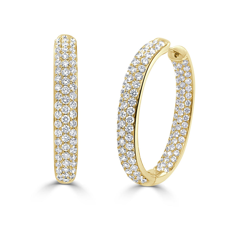 Sabrina Designs 18k Yellow Gold Diamond Pave Inside-Out Hoops Earrings