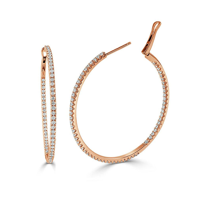 Sabrina Designs 14k Rose Gold Thin 1.75 Inch Diamond Hoops