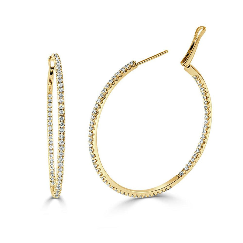 Sabrina Designs 14k Yellow Gold Thin 1.75 Inch Diamond Hoops