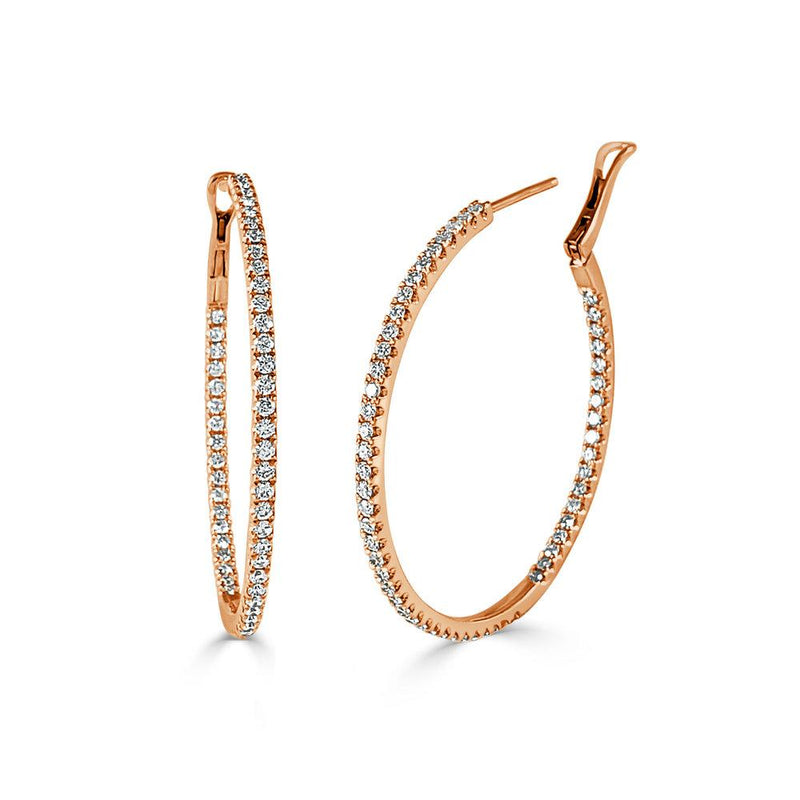 Sabrina Designs 14K Rose Gold Thin Diamond Hoops