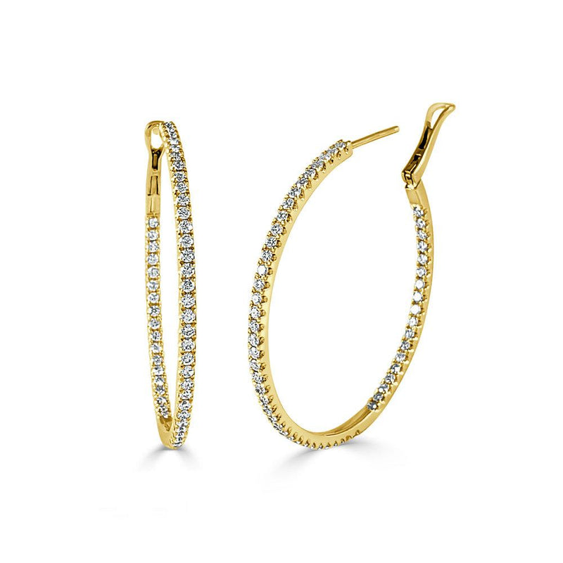 Sabrina Designs 14K Yellow Gold Thin Diamond Hoops