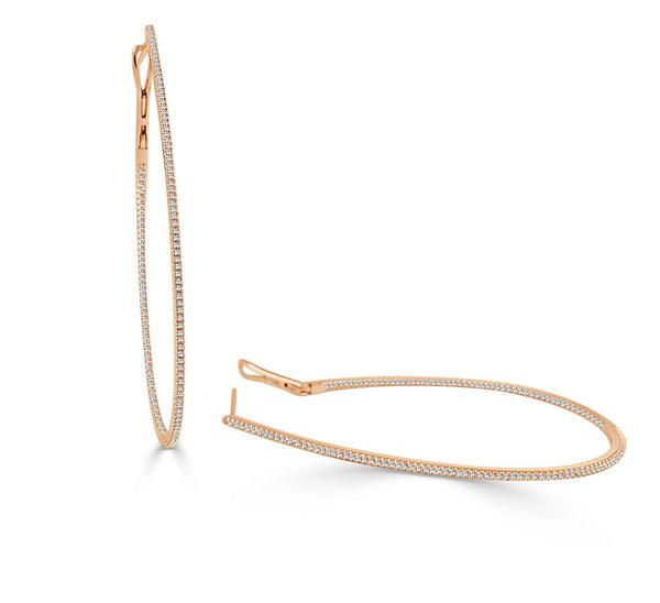 Sabrina Designs 14k Rose Gold Thin Pear-Shaped Diamond Hoops