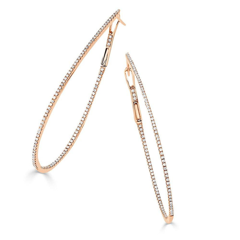Sabrina Designs 14k Rose Gold Thin Diamond 2'' Pear-Shaped Hoops