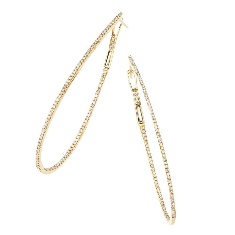 Sabrina Designs 14k Yellow Gold Thin Diamond 2'' Pear-Shaped Hoops