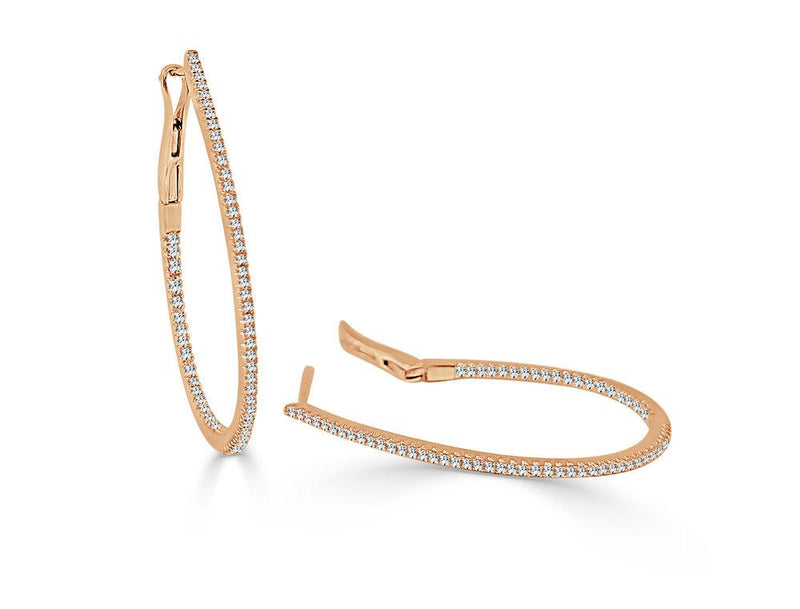 Sabrina Designs 14k Rose Gold Thin Diamond 1.25'' Pear-Shaped Hoops
