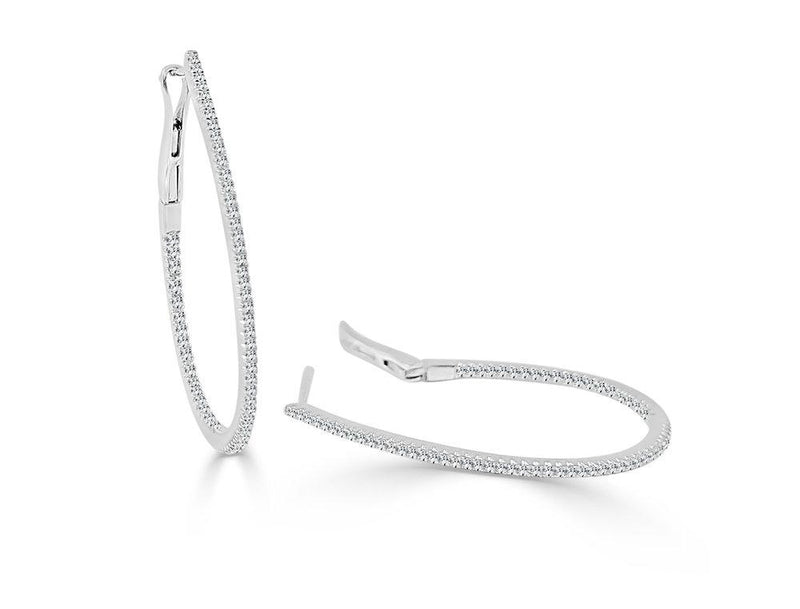Sabrina Designs 14k White Gold Thin Diamond 1.25'' Pear-Shaped Hoops