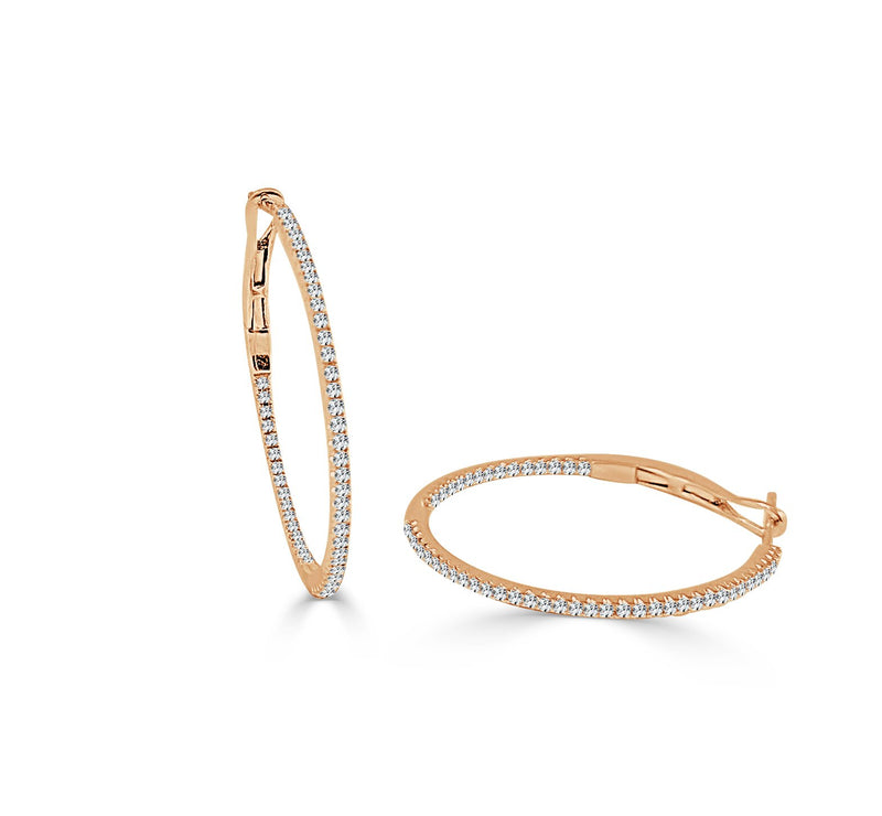 Sabrina Designs 14K Rose Gold 3/4 Inch Thin Diamond Hoops