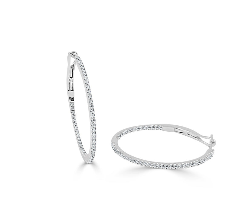Sabrina Designs 14K White Gold 3/4 Inch Thin Diamond Hoops