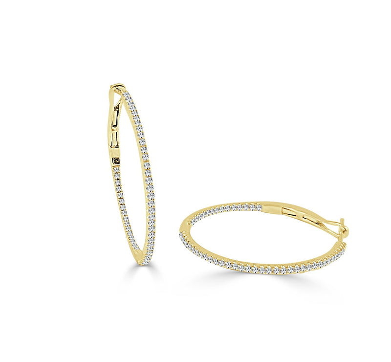 Sabrina Designs 14K Yellow Gold 3/4 Inch Thin Diamond Hoops