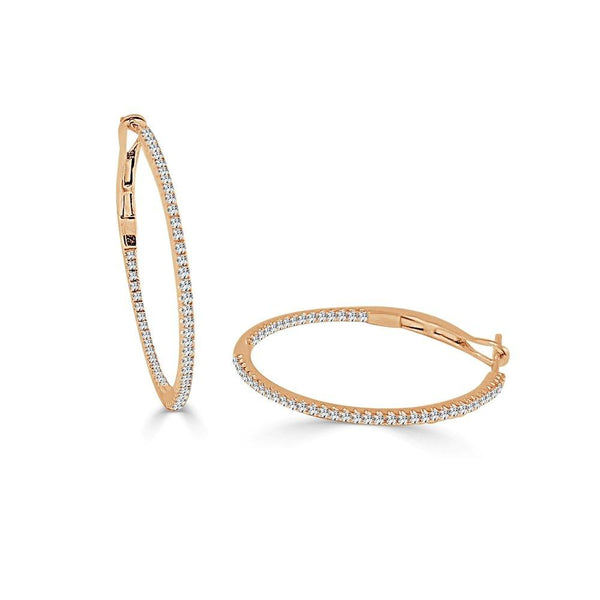14K Gold & Diamond Hoop Earring