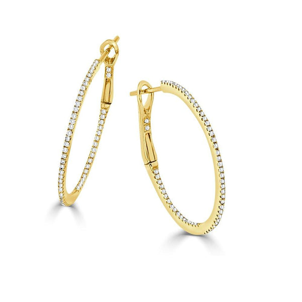 14K Gold & Diamond Round Hoop Earring