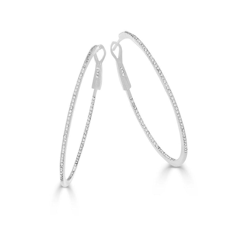 Sabrina Designs 14k White Gold 1.75'' Thin Diamond Hoops