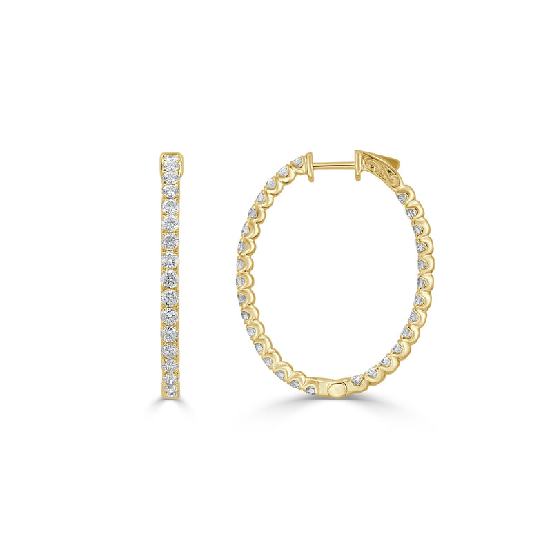 Sabrina Designs 18k Yellow Gold Diamond 1.25 Inch Oval Hoops