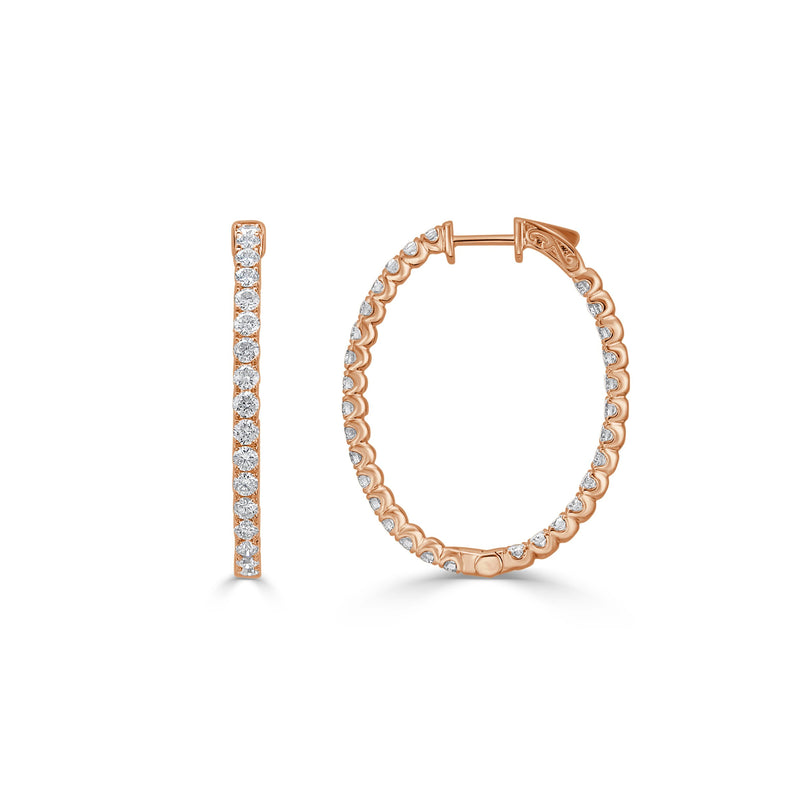 Sabrina Designs 18k Rose Gold Diamond 1.25 Inch Oval Hoops