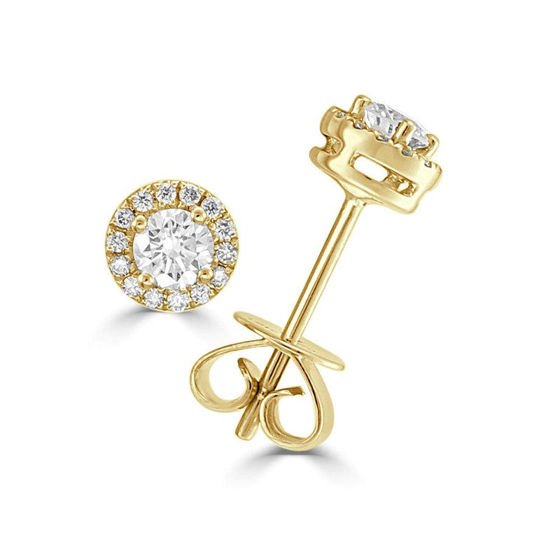 18K GOLD DIAMOND SM HALO DISC STUD EARRING