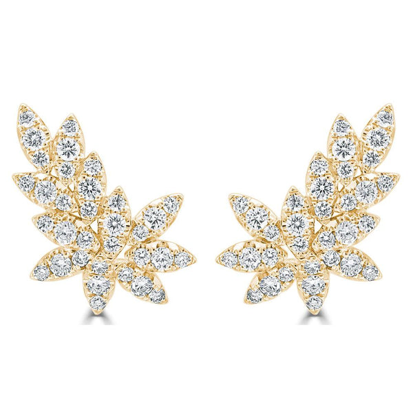 18K GOLD DIAMOND CLUSTER LEAF EARRINGS