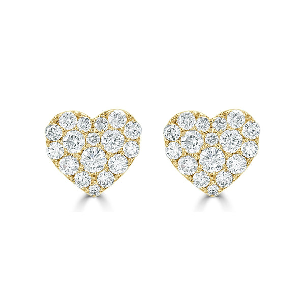 Large Diamond Heart Stud Earrings